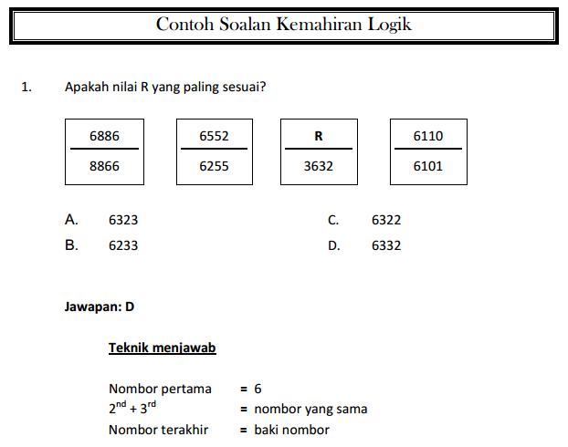 Di atas ialah contoh soalan kemahiran logik. Klik pada gambar untuk paparan lebih jelas.